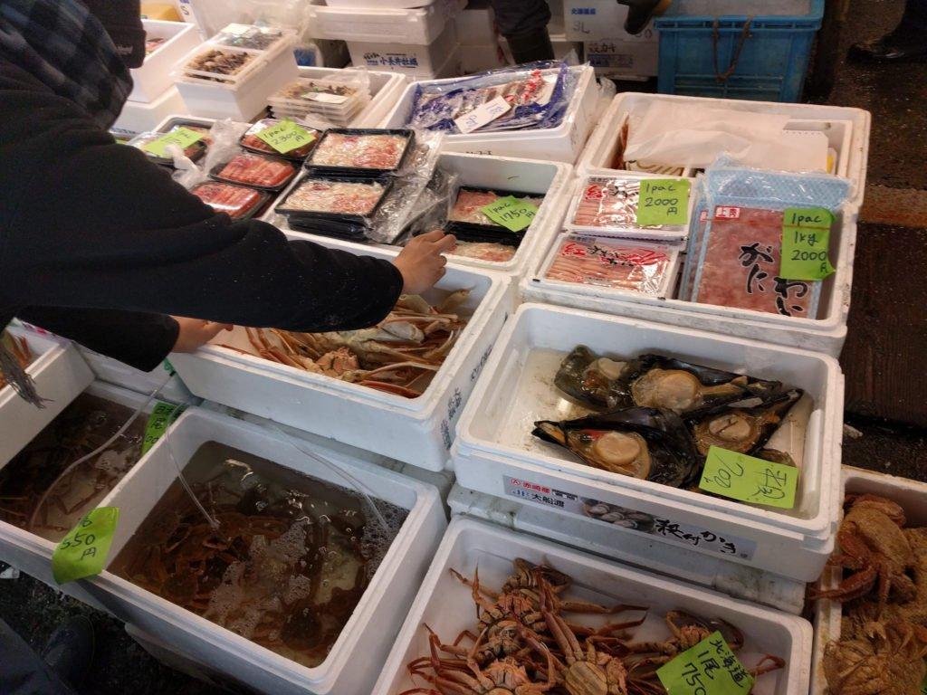 Visiting Tsukiji Market in the morning.