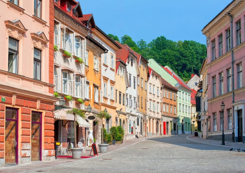 Ljubljana Old City Street View