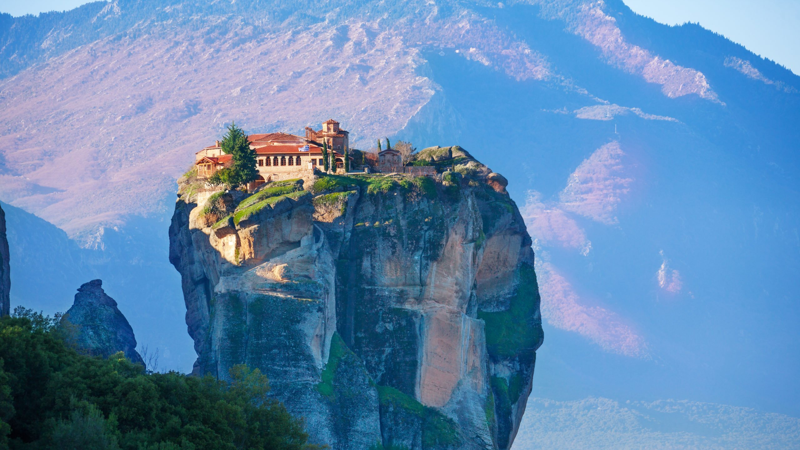 Relax And Enjoy The Beautiful Views Over The Holy Trinty Monastery On The Meteora Sunset Tour