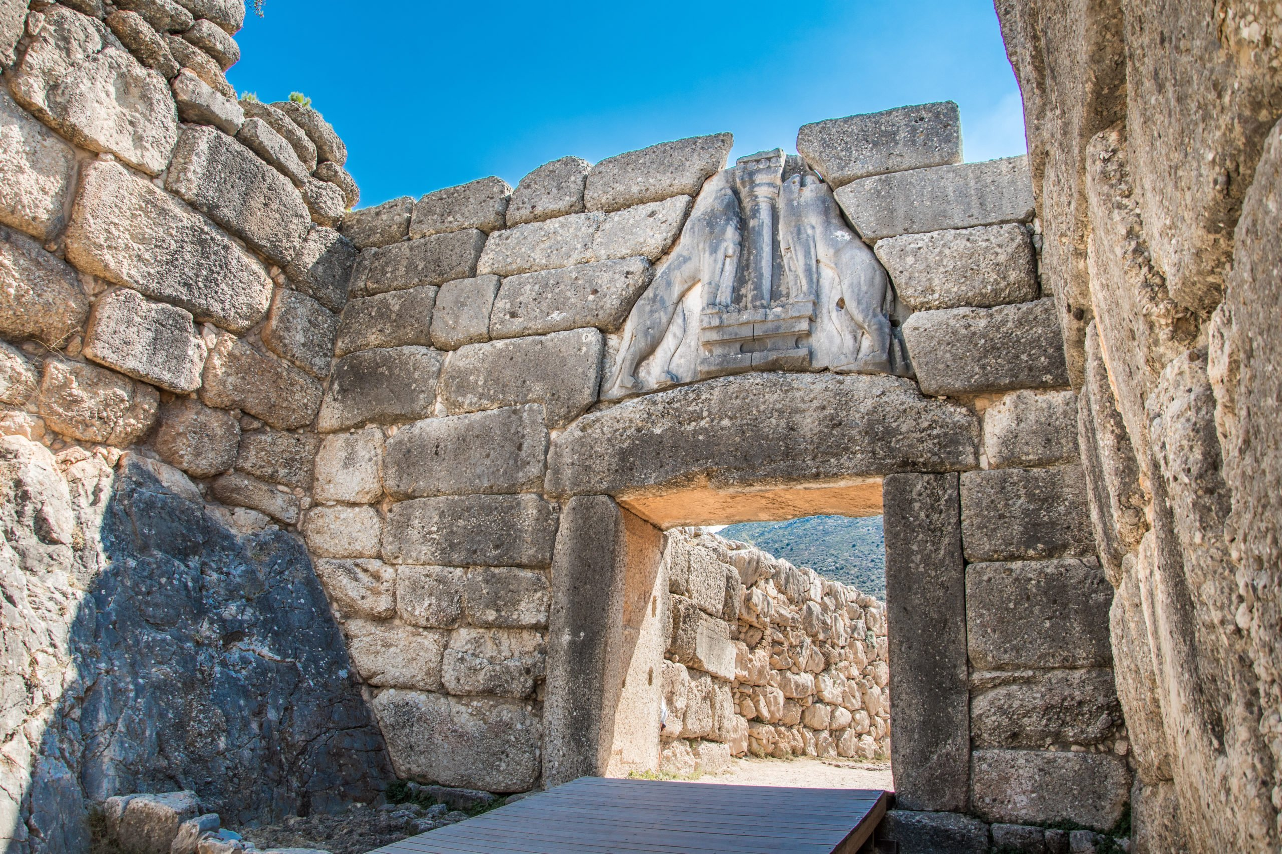 Enter To The Citadel Of Mycenae Through The Original Entrance - The Lion Gate - On Your Epidaurus & Mycenae Tour From Athens