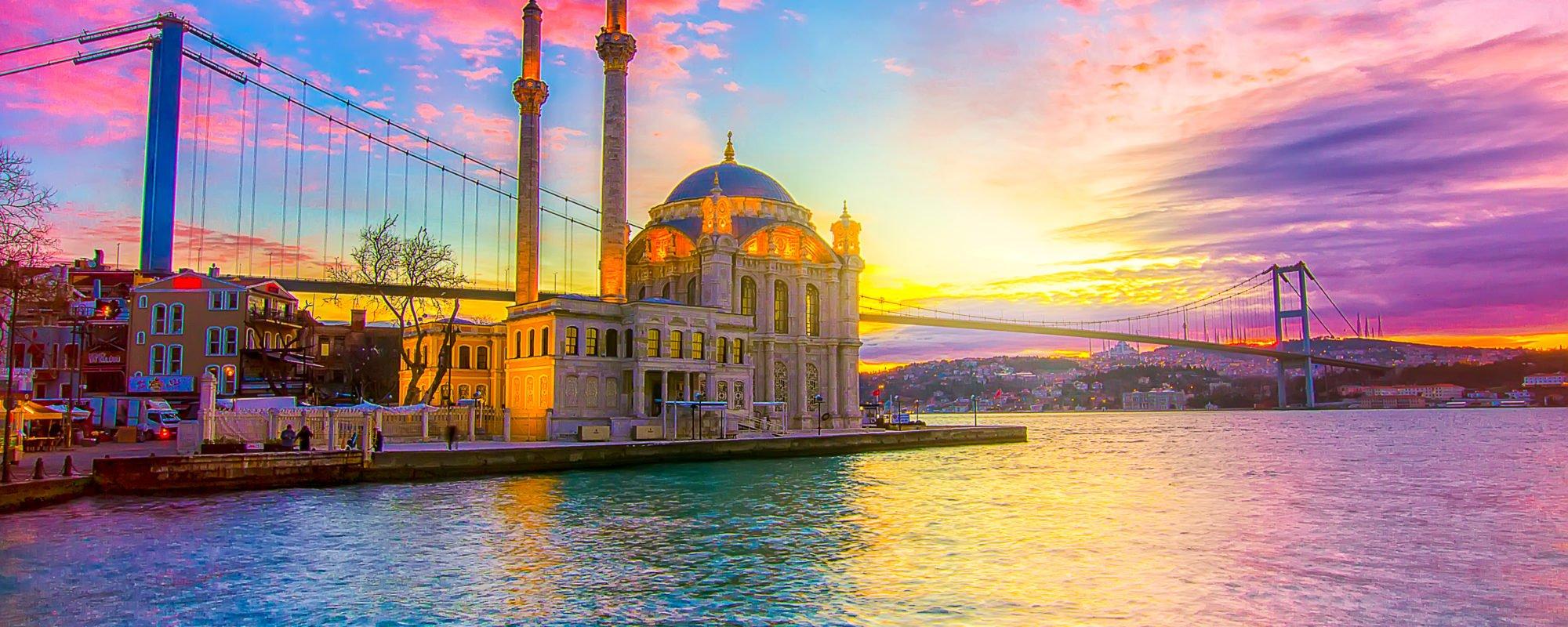 Beautiful Istanbul Panorama Nighttime