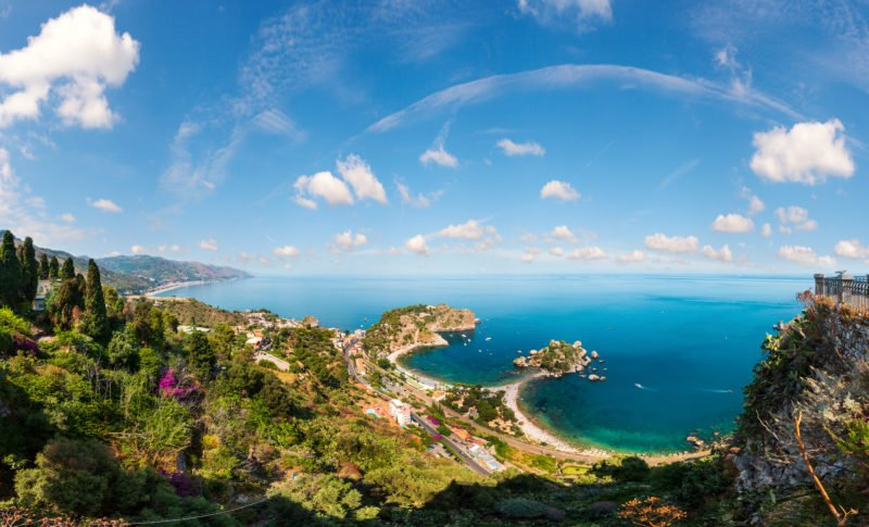 Beautiful Views Over The Isola Bella From Taormina