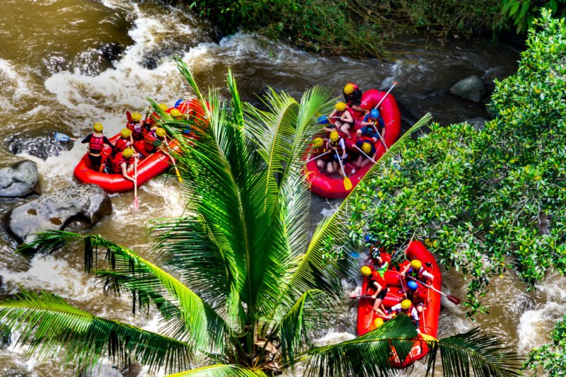 Enjoy The Rafting On Ayung River During The Ubud Wild Water Rafting & Kintamani Volcano Tour From Ubud, Sanur, Kuta, Jimbaran Bay, Seminyak, Legian, Nusa Dua, Uluwatu, Canggu, Den