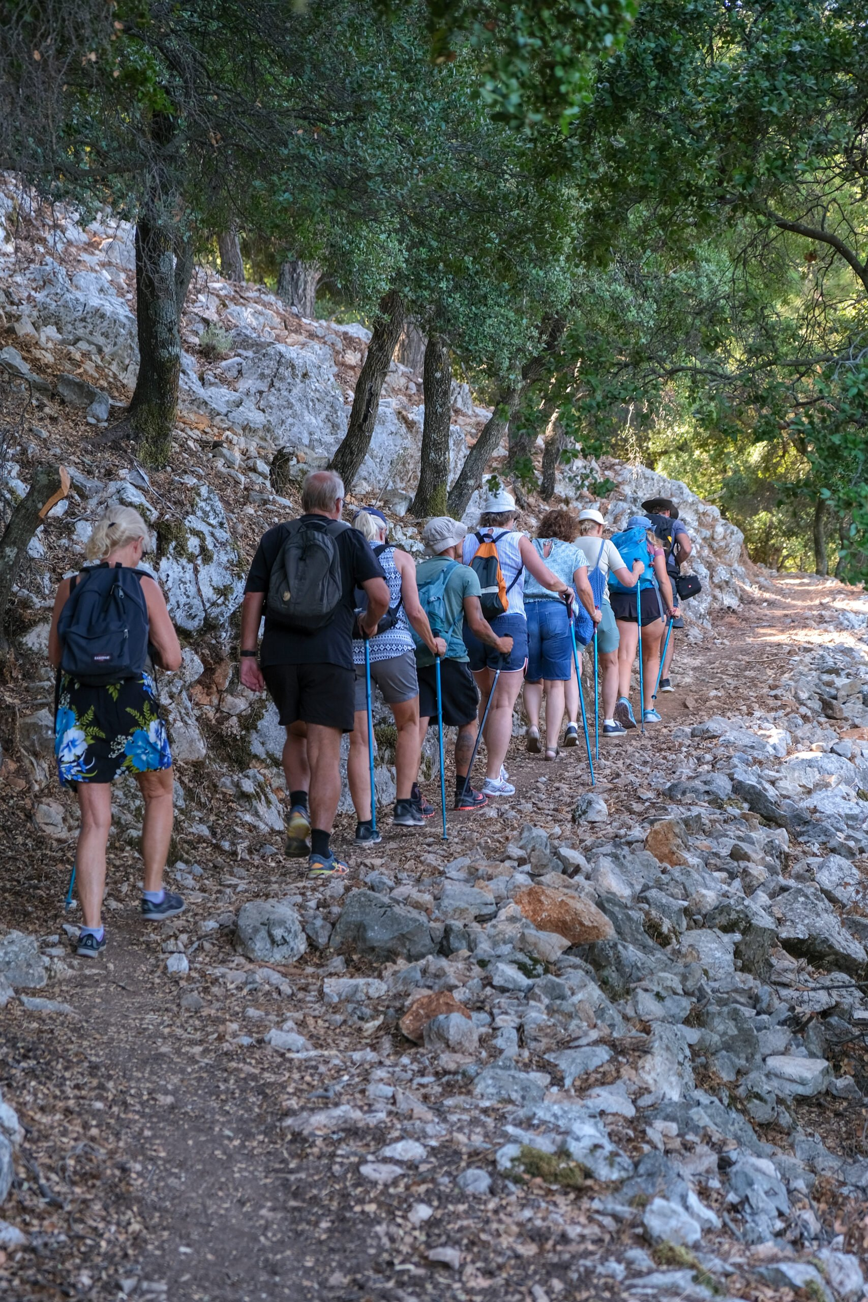 Hiking In A Group In Our Profitis Ilias Sunset Hiking Tour