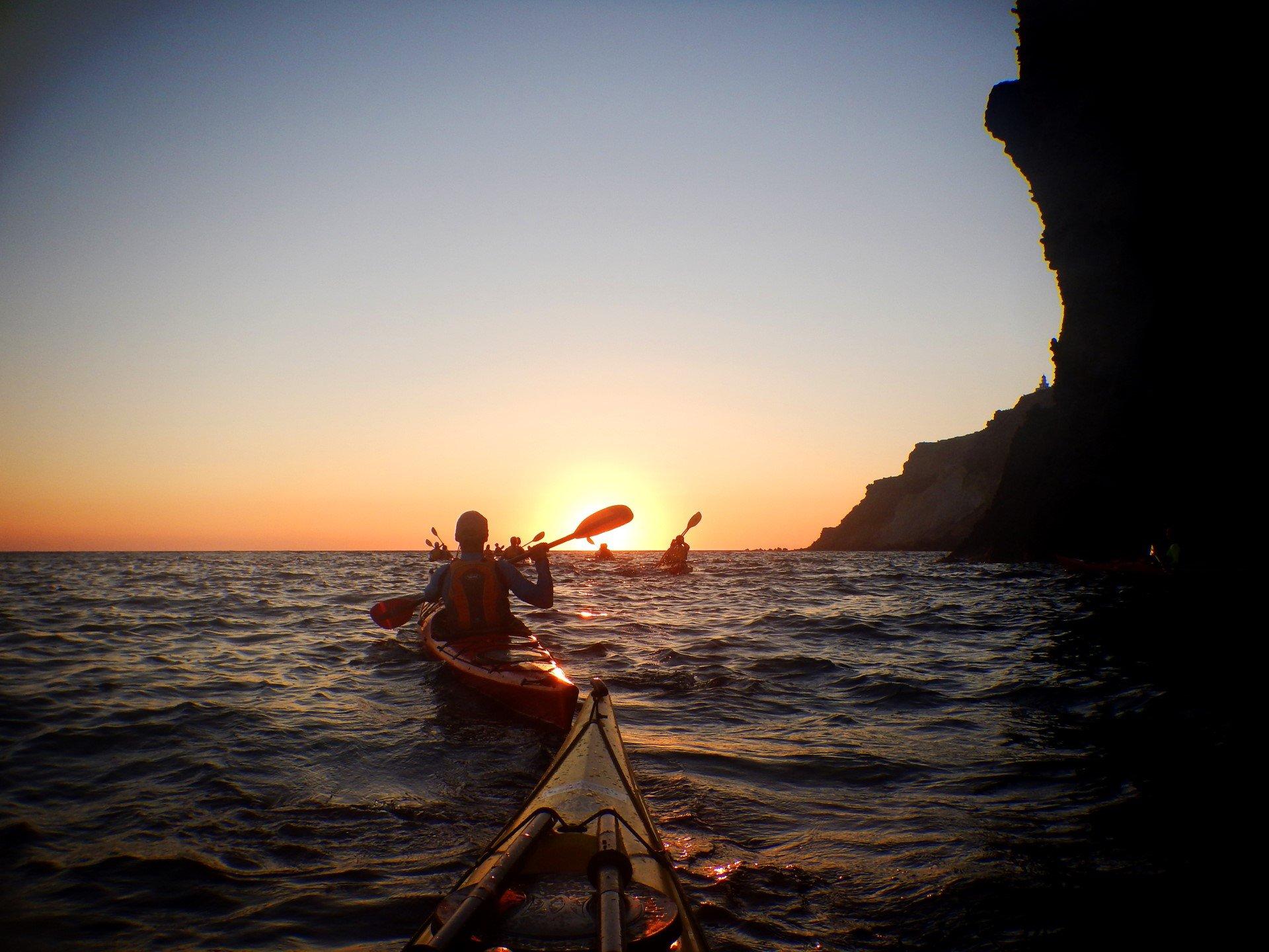 Admire The Beautiful Sunset On The Sunset Sea Kayak & Snorkeling Tour In Santorini_92