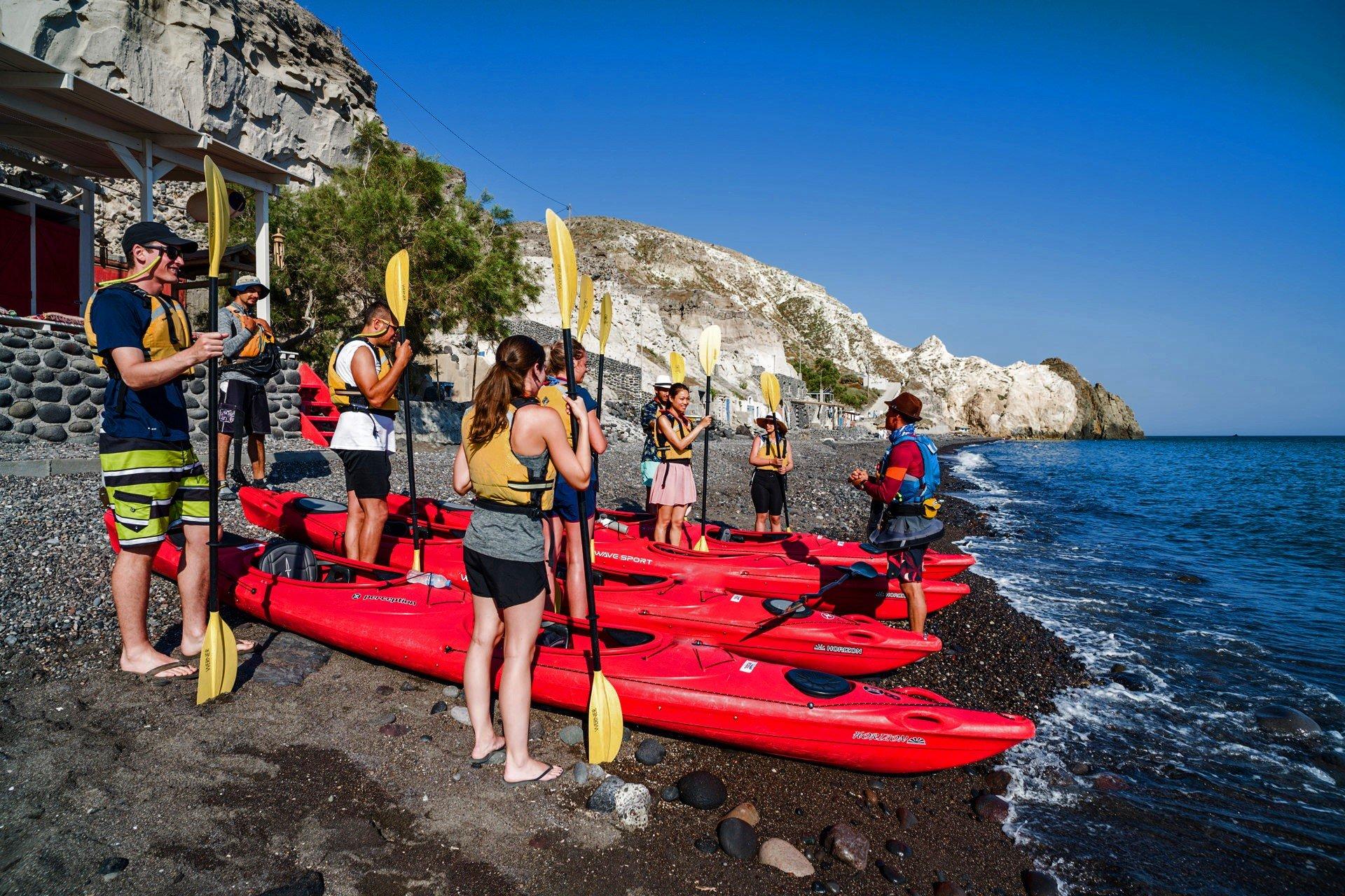 Start Your Day At A Beautiful Beach Of Santorini On The Morning Sea Kayak & Snorkeling Tour In Santorini_92