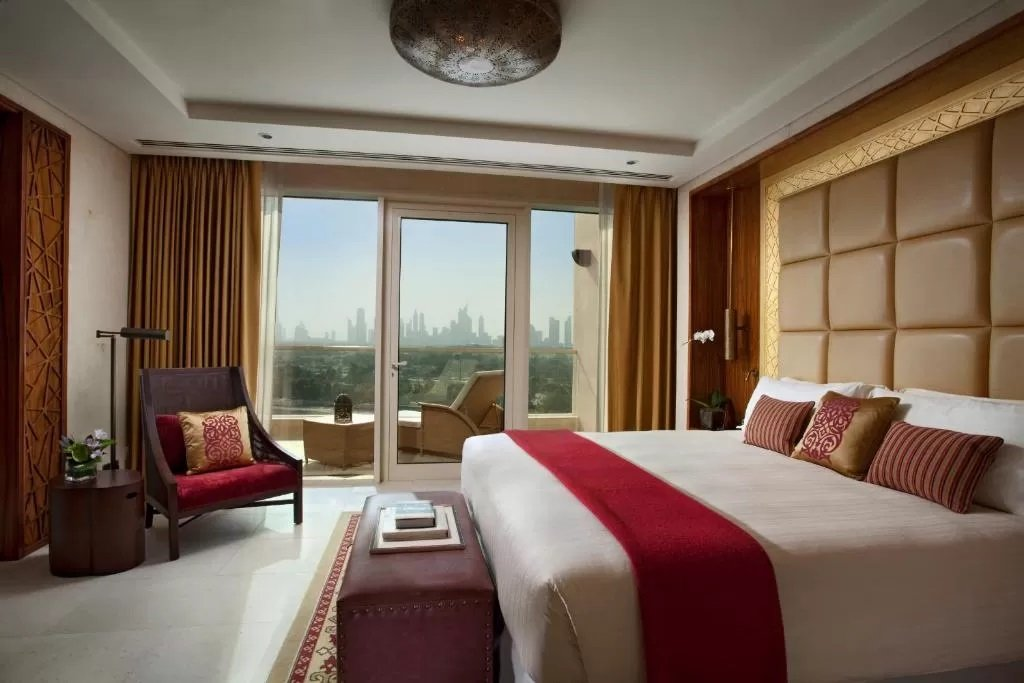 Rooms at Raffles Dubai have private balconies