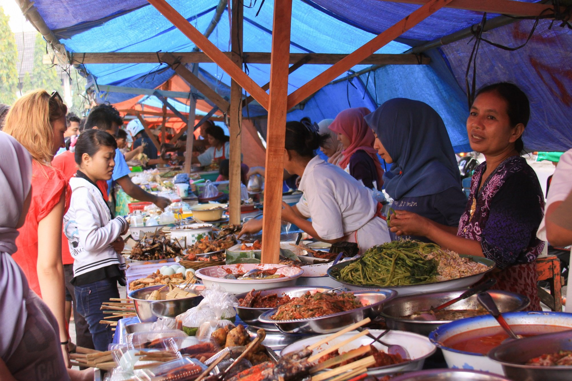 Traditional food market in Mataram, Indonesia