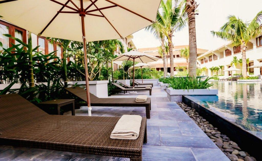 Pool terrace at Almanity Hoi An Wellness Resort