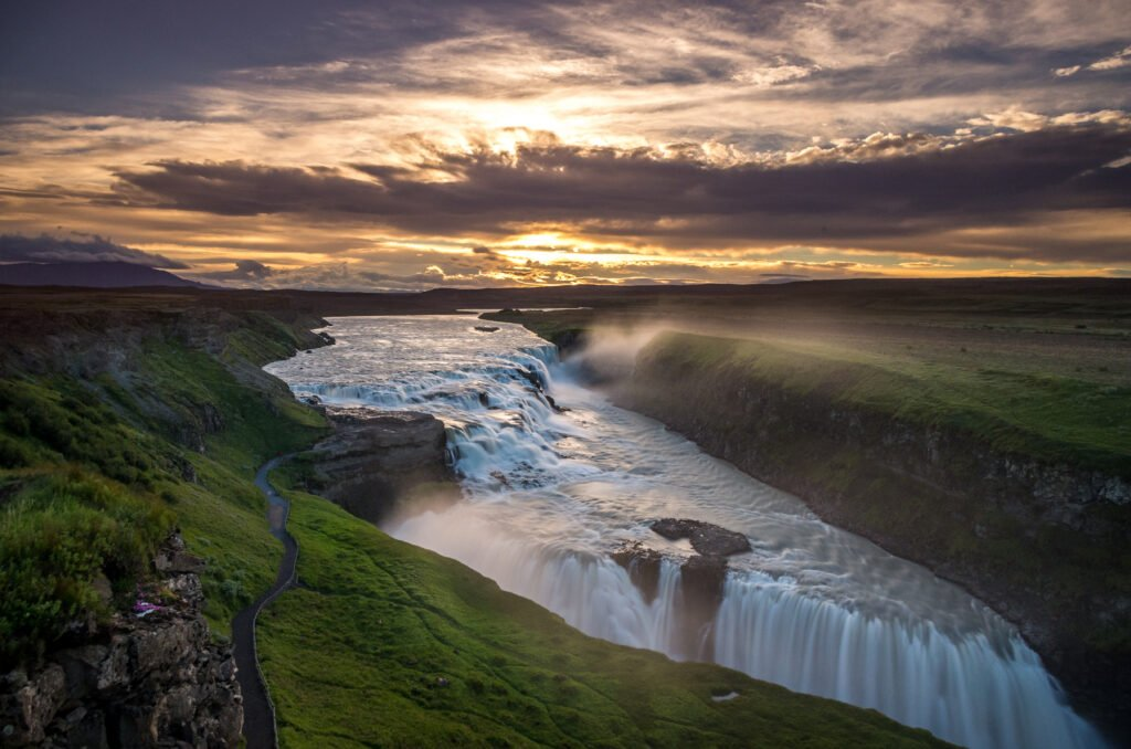 Gulfoss Waterfall in Iceland, top attraction in the Golden Circle.